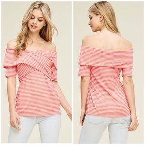 Tops - Coral Striped Criss-Cross Front Top